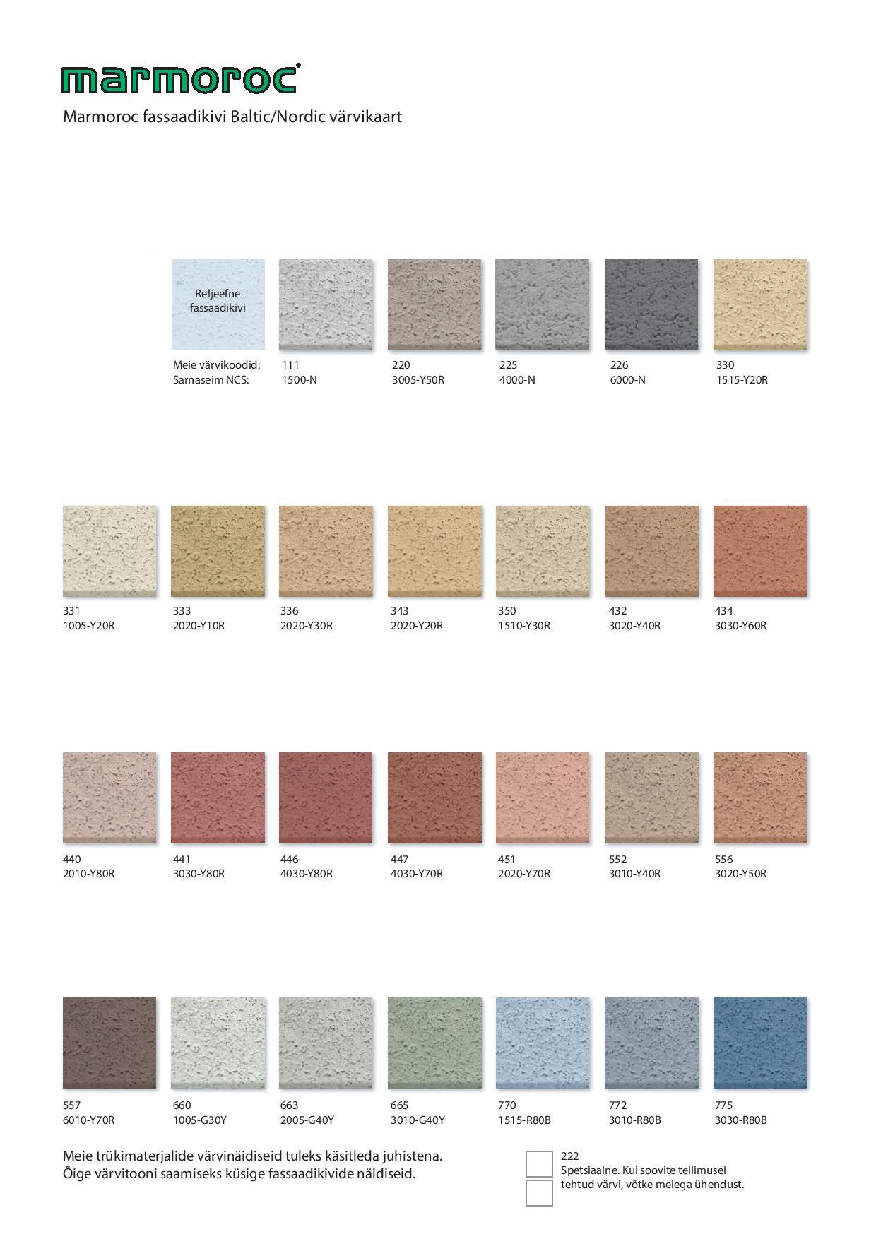 Marmoroc värvikaart
